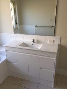 Bathroom vanity after replacement