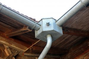gutter pipework into water tank