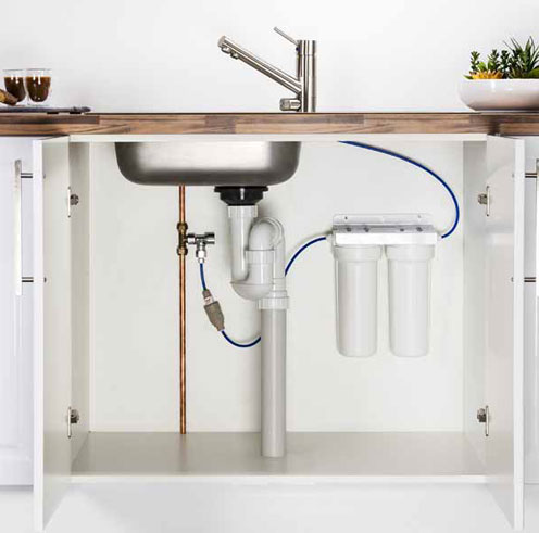 Under Sink Twin Cartridge Filter With Bench Tap